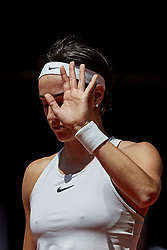 May 10, 2018 - Madrid, Madrid, Spain - Caroline Garcia of France reacts in her match against Carla Suarez Navarro of Spain during day six of the Mutua Madrid Open tennis tournament at the Caja Magica on May 10, 2018 in Madrid, Spain  (Credit Image: © David Aliaga/NurPhoto via ZUMA Press)