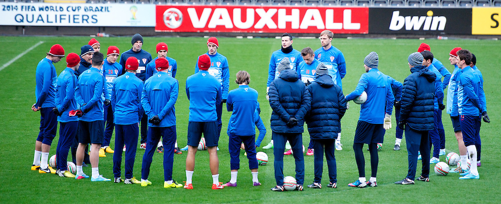 SWANSEA, WALES - Monday, March 25, 2013: Croatia players during a training session at the Liberty Stadium ahead of the 2014 FIFA World Cup Brazil Qualifying Group A match against Wales. (Pic by David Rawcliffe/Propaganda)