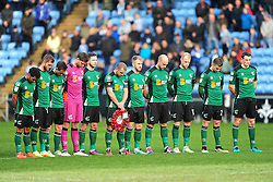 COVENTRY CITY MINUTES SILENCE FOR REMEMBERENCE DAY, Coventry City v Scunthorpe United, EFL, Sky Bet League One Ricoh Arena, Saturday 12th November 2016<br /> Photo:Mike Capps