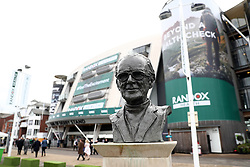 General view of a bust of horse racing commentator Peter O'Sullevan outside the parade ring during Grand National Day of the 2018 Randox Health Grand National Festival at Aintree Racecourse, Liverpool.