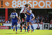 Brentford midfielder Romaine Sawyers (19)  beating Ipswich defender Jonas Knudsen (3) to a header during the EFL Sky Bet Championship match between Brentford and Ipswich Town at Griffin Park, London, England on 13 August 2016. Photo by Matthew Redman.