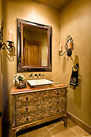 Mirror and sink in modern home