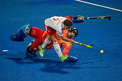 England's Harry Martin beats Nicolas Jacobi of Germany during the penalty shoot out. England v Germany - Semi-Final Unibet EuroHockey Championships, Lee Valley Hockey & Tennis Centre, London, UK on 27 August 2015. Photo: Simon Parker