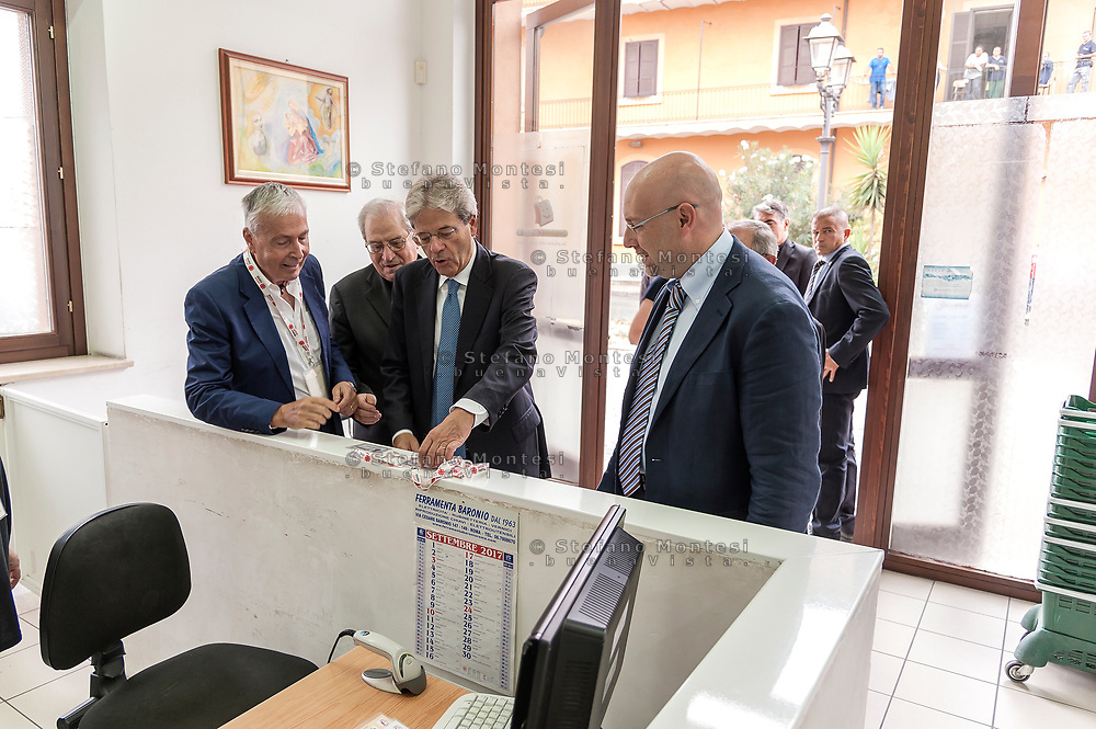 ROME, ITALY - SEPTEMBER 01: Italian PM Paolo Gentiloni  during visit the Citadel of the Charity of the Diocesan Caritas of Rome on September 1, 2017 in Rome, Italy. Italian PM Paolo Gentiloni visit the Caritas is to express the gratitude of all Italians to the world of volunteering, to those who work in favour of solidarity.
