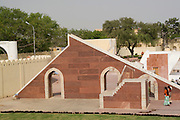 India, Rajasthan, Jaipur. The Jantar Mantar astronomical park from 1728 Laghu Samrat Yantra - for calculating local time within 20 seconds