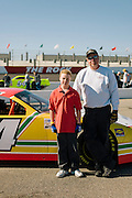 David Ball and his son, Tristan, from Marshall, N.C., working together in a crew for a UARA series race at Rockingham Speedway.