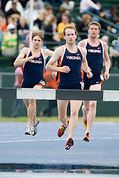 Alex Tatu (center) leads a trio of Virginia steeplechasers to the water hazard in the men's 3000m steeplechase.  The Virginia Cavaliers men's and women's track and field teams hosted the Missouri Tigers.  The Virginia women defeated Missouri while the Mizzou men defeated UVA on April 5, 2008 at The University of Virginia's Lannigan Field in Charlottesville, VA.