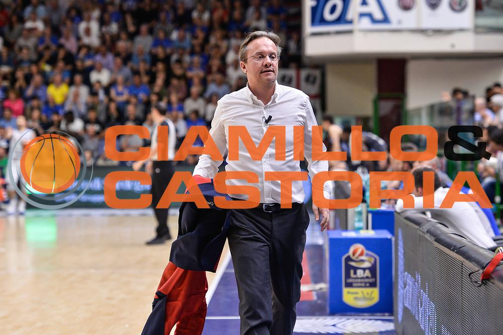 Federico Pasquini Giacca<br /> Banco di Sardegna Dinamo Sassari - Dolomiti Energia Aquila Basket Trento<br /> Legabasket Serie A LBA Poste Mobile 2016/2017<br /> Playoff Quarti Gara3<br /> Sassari 16/05/2017<br /> Foto Ciamillo-Castoria