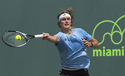 March 21, 2018 - Miami, FL, United States - Miami, FL - March, 21: Alexander Zverev (GER) practicing at the 2017 Miami Open held at the Tennis Center at Crandon Park.   Credit: Andrew Patron/Zuma Wire (Credit Image: © Andrew Patron via ZUMA Wire)