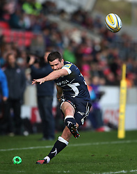 Sale Sharks' AJ MacGinty scores convertion during the Aviva Premiership match at The AJ Bell Stadium, Sale.