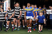 Hull FC and Leeds Rhinos emerge from the tunnel before the Betfred Super League match between Hull FC and Leeds Rhinos at Kingston Communications Stadium, Hull, United Kingdom on 19 April 2018. Picture by Mick Atkins.