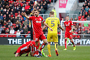 Burton Albion defender Kyle McFadzean (5) is shown a yellow card, booked during the EFL Sky Bet Championship match between Bristol City and Burton Albion at Ashton Gate, Bristol, England on 4 March 2017. Photo by Richard Holmes.