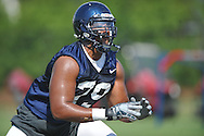 Ole Miss' Bobby Massie (79) works on blocking techniques during football practice in Oxford, Miss. on Sunday, August 7, 2011.