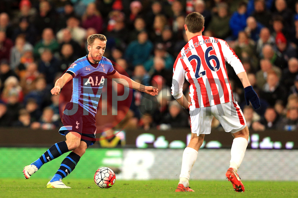 Harry Kane of Tottenham Hotspur and Philipp Wollscheid of Stoke City  - Mandatory by-line: Matt McNulty/JMP - 18/04/2016 - FOOTBALL - Britannia Stadium - Stoke, England - Stoke City v Tottenham Hotspur - Barclays Premier League