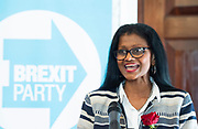Brexit Party launch event<br /> Nigel Farage and Richard Tice, party chairman launch the next tranche of Brexit Party candidates at an event in London, Great Britain <br /> House Terrace<br /> 23rd April 2019<br /> <br /> New candidates standing for the Brexit Party in the European Parliament Elections in May 2019 <br /> <br /> Christina Jordan<br /> Former nurse and community leader <br /> <br /> <br /> Photograph by Elliott Franks