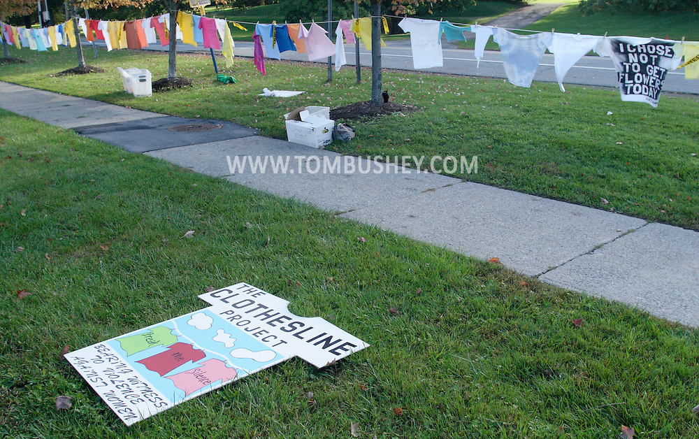 Goshen, NY -  Shirts hang on a line as part of the Clothesline Project, a display of shirts designed by women survivors of violence, in front of the Orange County Government Center in Goshen on Oct. 2, 2008. The shirts are color coded to show the form of abuse and whether the victim survived the abuse they experienced.