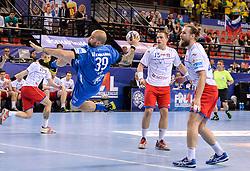 Igor Anic of Celje PL during handball match between Meshkov Brest and RK Celje Pivovarna Lasko in bronze medal match of SEHA- Gazprom League Final 4, on April 15, 2018 in Skopje, Macedonia. Photo by  Sportida