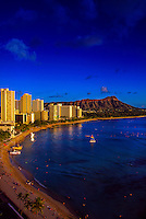 Waikiki Beach with Diamond Head crater on right, Honolulu, Oahu, Hawaii USA