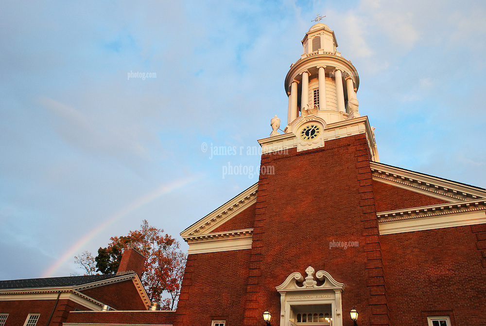 Rainbow over Marquand Chapel at Yale Divinity School, Sterling Memorial Quad, Yale University, New Haven, CT