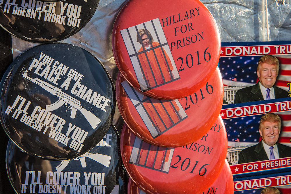 Madison, Mississippi, March 7, 2016 political buttons for sale outside of a Donald Trump rally the  rday before Mississippi primary.