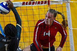 BLOOMINGTON, IL - September 14: Morghan Chambers handles a powerful hit by Sarah Kushner during a college Women's volleyball match between the ISU Redbirds and the University of Central Florida (UCF) Knights on September 14 2019 at Illinois State University in Normal, IL. (Photo by Alan Look)