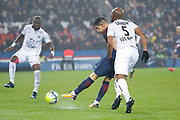 Yuri Berchiche (PSG) scored a goal against Remy VERCOUTRE (SM Caen), Baissama SANKOH (SM Caen) and celebrated it during the French Championship Ligue 1 football match between Paris Saint-Germain and SM Caen on December 20, 2017 at Parc des Princes stadium in Paris, France - Photo Stephane Allaman / ProSportsImages / DPPI