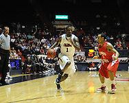 """Ole Miss' Terrance Henry (1) vs. Illinois State's Anthony Cousin (5) in a National Invitational Tournament game at the C.M. """"Tad"""" Smith Coliseum in Oxford, Miss. on Wednesday, March 14, 2012. (AP Photo/Oxford Eagle, Bruce Newman)"""
