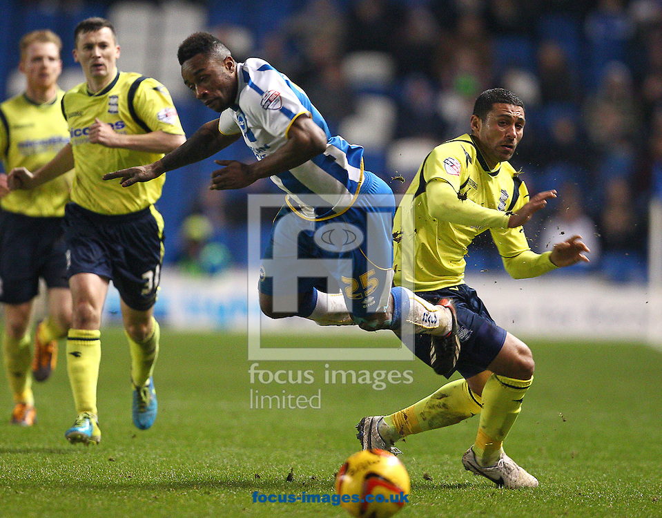 Picture by Paul Terry/Focus Images Ltd +44 7545 642257<br /> 11/01/2014<br /> Kazenga LuaLua of Brighton and Hove Albion is challenged by Hayden Mullins of Birmingham City during the Sky Bet Championship match at the American Express Community Stadium, Brighton and Hove.