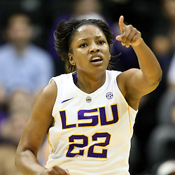 December 13, 2011; Baton Rouge, LA; LSU Lady Tigers forward Courtney Jones (22) reacts after scoring against the UCLA Bruins during the second half of a game at the Pete Maravich Assembly Center. LSU defeated UCLA 58-41. Mandatory Credit: Derick E. Hingle-US PRESSWIRE