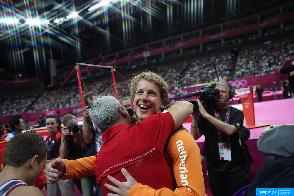 Epke Zonderland, The Netherlands, during his Gold Medal performance in the Men's Apparatus - Horizontal Bar Final at North Greenwich Arena during the London 2012 Olympic games London, UK. 7th August 2012. Photo Tim Clayton