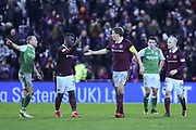 Isma Goncalves congratulates Christophe Berra on scoring  winning goal in the William Hill Scottish Cup 4th round match between Heart of Midlothian and Hibernian at Tynecastle Stadium, Gorgie, Scotland on 21 January 2018. Photo by Kevin Murray.