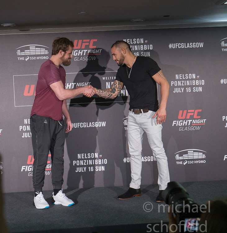 Gunnar Nelson  - No.8 welterweight contender fighting Santiago Ponzinibbio - No.14 welterweight contender. UFC FIGHT NIGHT: ULTIMATE MEDIA DAY, Castle, Crowne Plaza Glasgow,