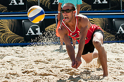 Nick Lucena of USA at A1 Beach Volleyball Grand Slam tournament of Swatch FIVB World Tour 2010, semifinal, on August 1, 2010 in Klagenfurt, Austria. (Photo by Matic Klansek Velej / Sportida)