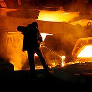 Blast furnace worker , liquid steel , Cherepovets Steel Mill, Severstal , Russian Federation , Russia