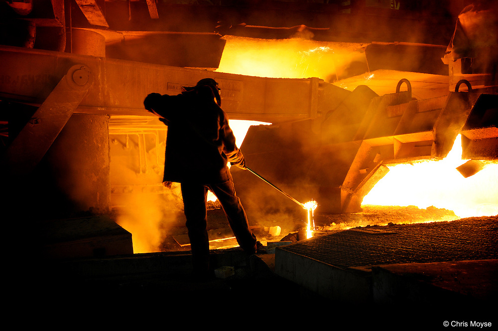 Blast furnace worker , liquid steel , Cherepovets Steel Mill, Severstal , Russian Federation , Russia