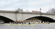 Putney, GREAT BRITAIN,   Both crews lining up before the start at Putney Bridge, 2010 Varsity Boat Race, Fixture, Oxford UBC vs Leander Clubduring the  2010  Varsity/Oxford University  vs Leander Club, raced over the championship course. Putney to Mortlake, Sat. 20.03.2010. [Mandatory Credit, Peter Spurrier/Intersport-images]