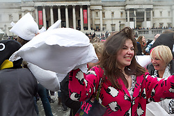 © Licensed to London News Pictures.07/04/2012. London, UK. Hundreds of people took part in 'International Pillow Fight Day' today (07/04) in Trafalgar Square. The event which has been running since 2010 happens in dozens of cities around the world.Photo credit : James Gourley/LNP