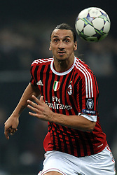 23.11.2011, Giuseppe Meazza Stadion, Mailand, ITA, UEFA CL, Gruppe H, AC Mailand (ITA) vs FC Barcelona (ESP), im Bild Zlatan IBRAHIMOVIC Milan // during the football match of UEFA Champions league, group H, between Gruppe H, AC Mailand (ITA) and FC Barcelona (ESP) at Giuseppe Meazza Stadium, Milan, Italy on 2011/11/23. EXPA Pictures © 2011, PhotoCredit: EXPA/ Insidefoto/ Andrea Staccioli..***** ATTENTION - for AUT, SLO, CRO, SRB, SUI and SWE only *****