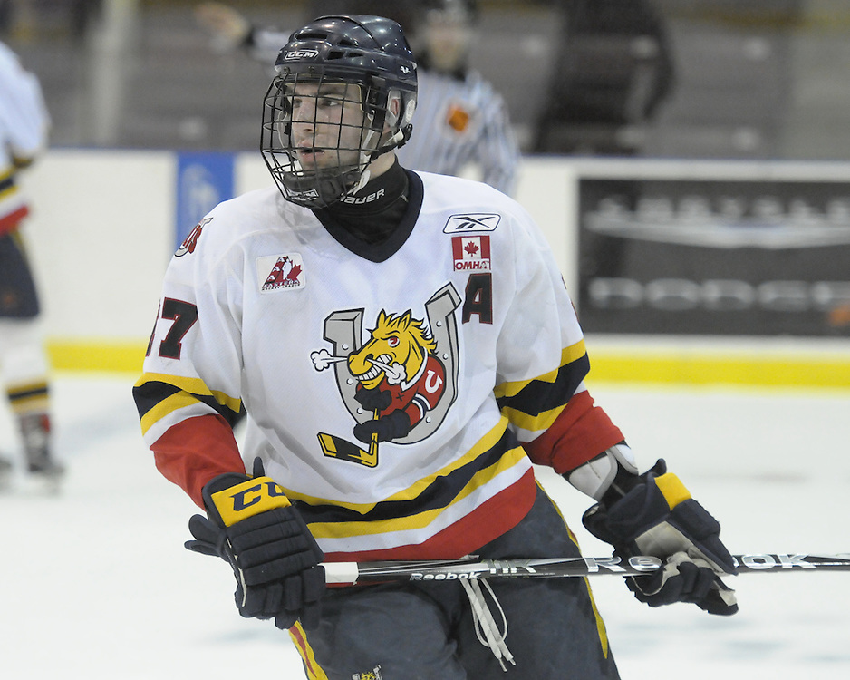 Peyton Backus of the Barrie Jr. Colts.  Photo by Aaron Bell/OHL Images