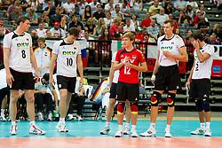 11.09.2011, O2 Arena, Prag, CZE, Europameisterschaft Volleyball Maenner, Vorrunde D, Deutschland (GER) vs Slowakei (SVK), im Bild Marcus Böhme/Boehme (#8 GER / Friedrichshafen GER), Jochen Schöps/Schoeps (#10 GER / Odintsovo RUS), Ferdinand Tille (#12 GER), Robert Kromm (#14 GER / Verona ITA), Bjoern/Björn Andrae (#5 GER / Kemerovo RUS) // during the 2011 CEV European Championship, Germany vs Slovakia at O2 Arena, Prague, 2011-09-11. EXPA Pictures © 2011, PhotoCredit: EXPA/ nph/  Kurth       ****** out of GER / CRO  / BEL ******