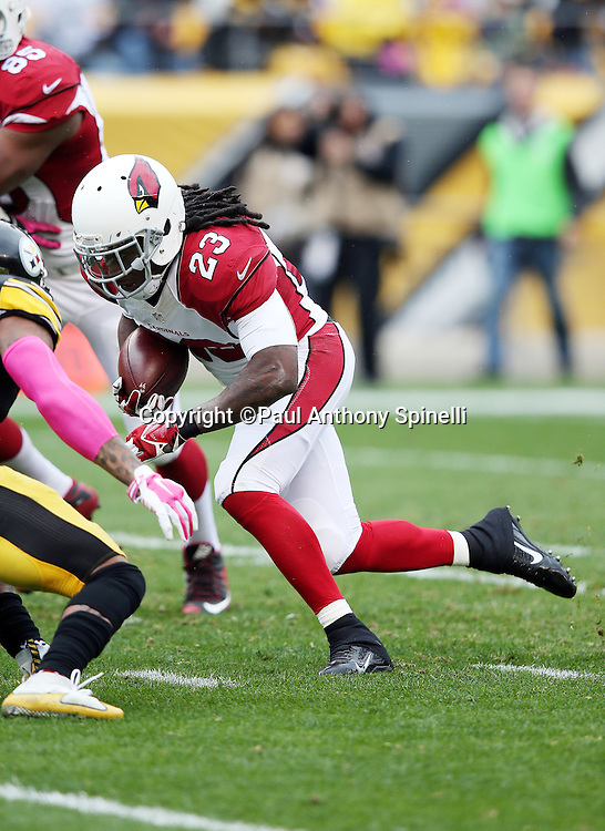 Arizona Cardinals running back Chris Johnson (23) runs the ball in the first quarter during the 2015 NFL week 6 regular season football game against the Pittsburgh Steelers on Sunday, Oct. 18, 2015 in Pittsburgh. The Steelers won the game 25-13. (©Paul Anthony Spinelli)