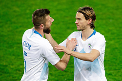 Bostjan Cesar of Slovenia and Rene Krhin of Slovenia during friendly football match between National teams of Slovenia and Belarus, on March 27, 2018 in SRC Stozice, Ljubljana, Slovenia. Photo by Matic Klansek Velej / Sportida