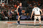 February 13, 2018: Kyle Guy #5 of Virginia in action during the NCAA basketball game between the Miami Hurricanes and the Virginia Cavaliers in Coral Gables, Florida. The Cavaliers defeated the 'Canes 59-50.