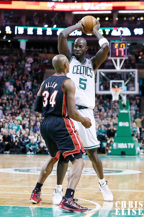 27 January 2013: Miami Heat shooting guard Ray Allen (34) defends on Boston Celtics power forward Kevin Garnett (5) during the Boston Celtics 100-98  2OT victory over the Miami Heat at the TD Garden, Boston, Massachusetts, USA.
