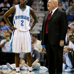 Jan 20, 2010; New Orleans, LA, USA; New Orleans Hornets head coach Jeff Bower talks with guard Darren Collison (2) during the first half against the Memphis Grizzlies at the New Orleans Arena. Mandatory Credit: Derick E. Hingle-US PRESSWIRE