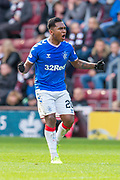 Alfredo Morelos (#20) of Rangers FC screams encouragement after scoring the equalising goal during the Ladbrokes Scottish Premiership match between Heart of Midlothian and Rangers FC at Tynecastle Park, Edinburgh, Scotland on 20 October 2019.