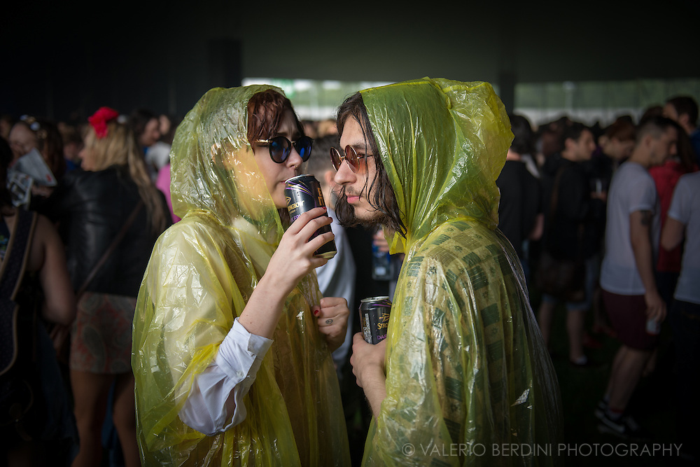 Atmosphere from a rainy Field Day Festival. Day one at Victoria Park, East London. Saturday 11 June 2016