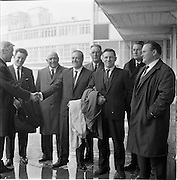 7/09/1967<br /> 09/17/1967<br /> 17 September 1967<br /> Fishermen leave Dublin Airport for Norway. Seven fishermen from Killybegs, Galway, Wexford, Howth, Burtonport, Dun Laoghaire and Arklow flew out on a two week tour of the Norwegian Fishing Industry sponsored by Bord Iascaigh Mhara. Picture shows Mr J.M. O'Connor (left) Advisory Services Manager, Bord Iascaigh Mhara seeing the party off, from left: Mr Joseph Boyle, Burtonport; Mr Co Murrin, Killybegs; Mr James Birmingham, Arklow; Mr John Faherty, Galway; Mr Patrick Downes, Kilmore Quay; Mr Gregory Conealy, Galway and Mr Gerry O'Shea, Howth.