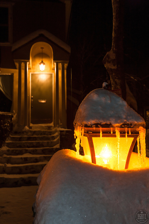 """Snowy Lamp Post 2"" - Photograph of a snow covered lamp post and snowy walkway in Downtown Truckee, California."