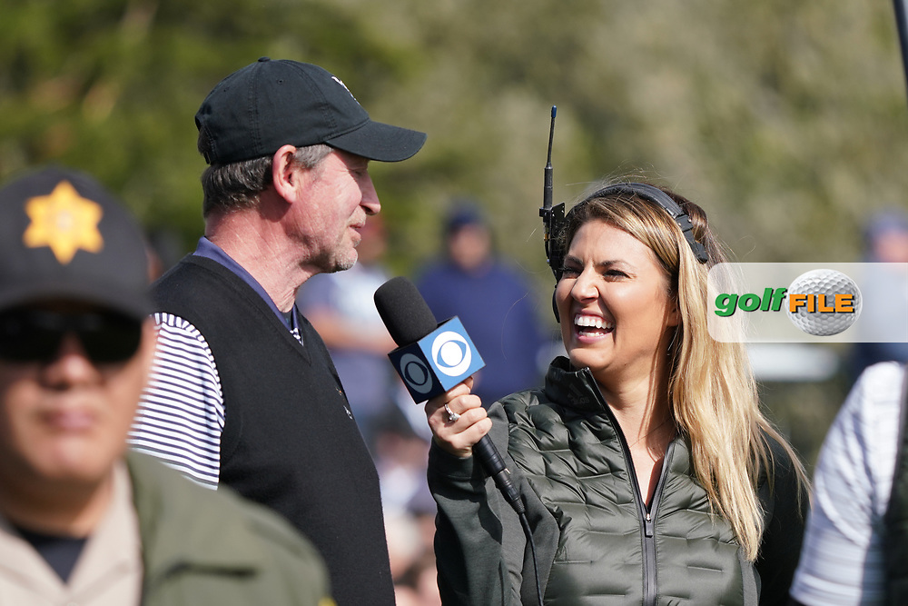 Wayne Gretzky being interviewed in during the third round of the AT&T Pro-Am, Pebble Beach, Monterey, California, USA. 07/02/2020<br /> Picture: Golffile | Phil Inglis<br /> <br /> <br /> All photo usage must carry mandatory copyright credit (© Golffile | Phil Inglis)